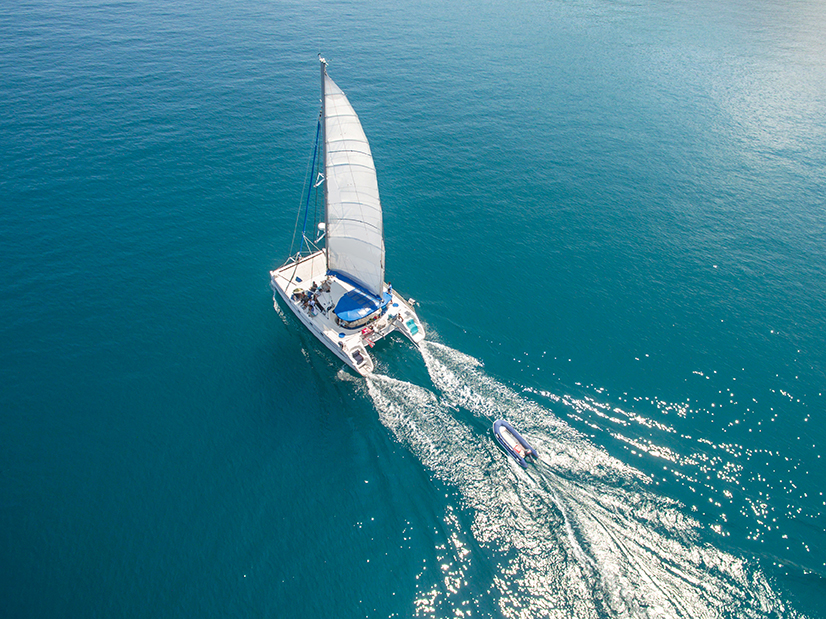 Aerial view of sailing boats walking on the sea